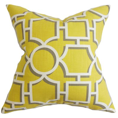Bullins Geometric Square Cotton Throw Pillow Color: Dandelion, Size: 24 x 24