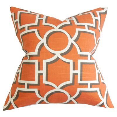 Bullins Geometric Square Cotton Throw Pillow Color: Persimmon, Size: 18 x 18