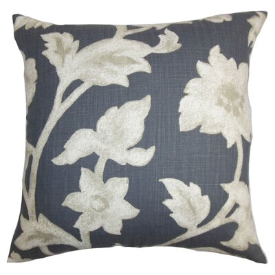 Taina Floral Cotton Throw Pillow Color: Smoke, Size: 18 x 18
