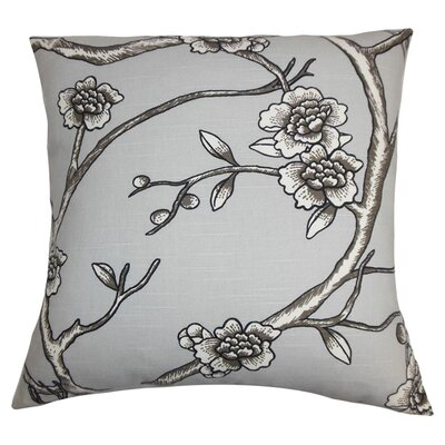 Tadita Floral Cotton Throw Pillow Color: Dove, Size: 18 x 18