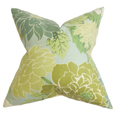 Ashendon Floral Cotton Throw Pillow Color: Patina, Size: 18 x 18