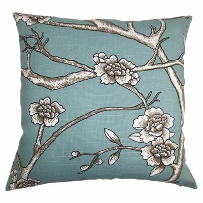 Mangels Floral Cotton Throw Pillow Color: Jade, Size: 22 x 22