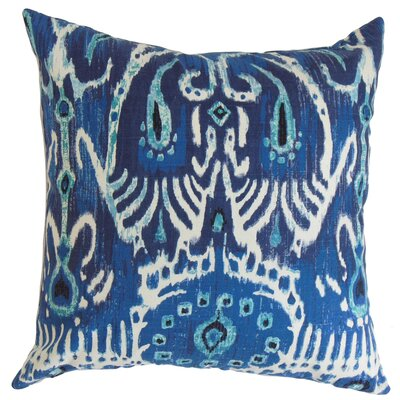 Delron Ikat Square Bedding Sham Size: Euro, Color: Navy Blue