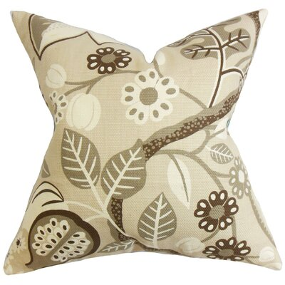 Ashville Floral Cotton Throw Pillow Color: Ivory, Size: 24 x 24