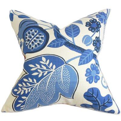 Prys Floral Cotton Throw Pillow Color: Porcelain, Size: 24 x 24
