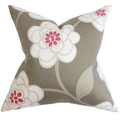 Parkstone Floral Cotton Throw Pillow Color: Dove, Size: 20 x 20