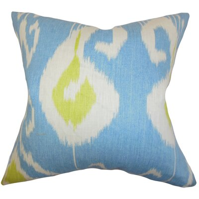 Bufford Ikat Linen Throw Pillow Color: Capri, Size: 18
