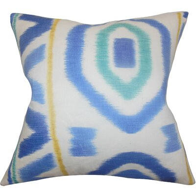 Rivka Geometric Cotton Throw Pillow Color: Blue, Size: 18 x 18