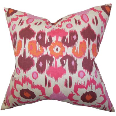 Spiers Ikat Cotton Throw Pillow Color: Pink, Size: 22 x 22