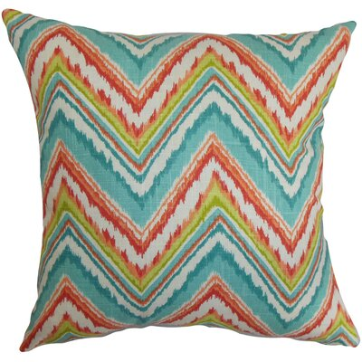 Dayana Zigzag Bedding Sham Size: Euro, Color: Teal/Red