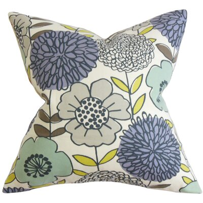 Veruca Floral Cotton Throw Pillow Color: Purple Sage, Size: 24 x 24