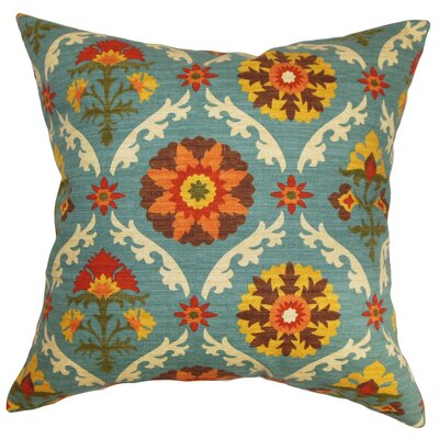 "Kachine Floral Cotton Throw Pillow Size: 22"" x 22"" P22-D-42254-AUTUMN-C100"