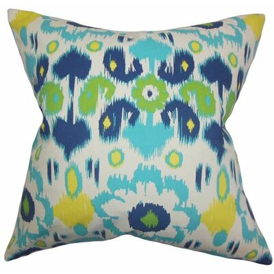 Querida Ikat Cotton Throw Pillow Color: Blue Green, Size: 22 x 22