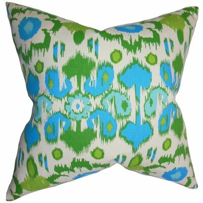 Querida Ikat Cotton Throw Pillow Color: Blue, Size: 20 x 20