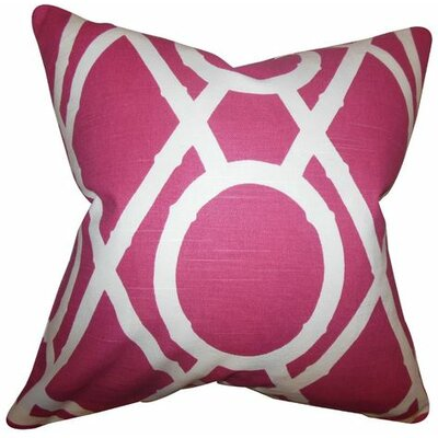 Whit Geometric Cotton Throw Pillow Color: Raspberry, Size: 18 x 18