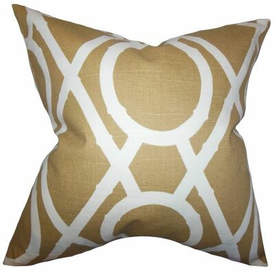 Whit Geometric Cotton Throw Pillow Color: Amber, Size: 18 x 18