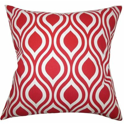 Poplar Geometric Cotton Throw Pillow Color: Red, Size: 18 x 18