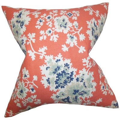 Danique Floral Throw Pillow Color: Coral, Size: 18 x 18