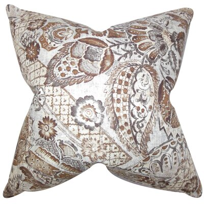 Heidrun Floral Throw Pillow Color: Brown, Size: 18 x 18
