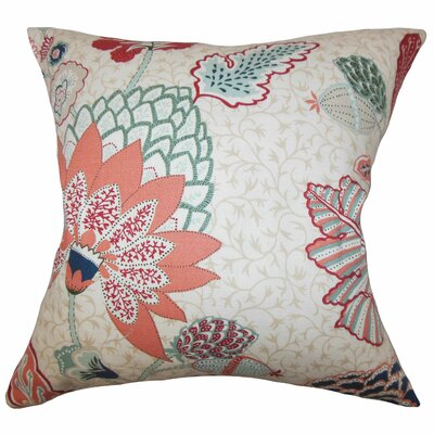 Ahna Floral Throw Pillow Color: Mint Red, Size: 18 x 18