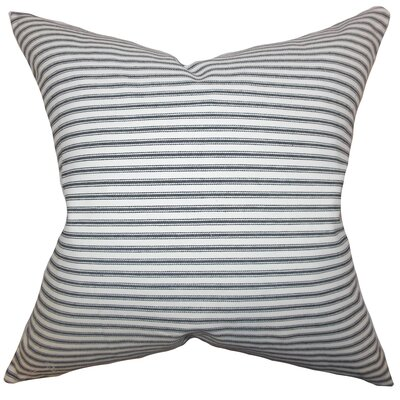 Ferebee Striped Cotton Throw Pillow Color: Gray, Size: 18 H x 18 W