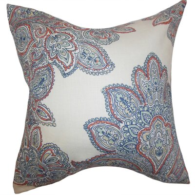 Haldis Floral Linen Throw Pillow Color: Blue, Size: 22 x 22