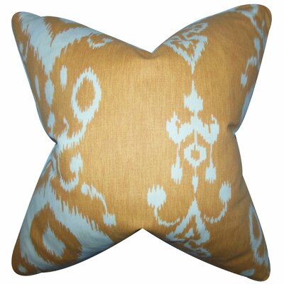 Katti Ikat Cotton Throw Pillow Color: Amber, Size: 18 x 18
