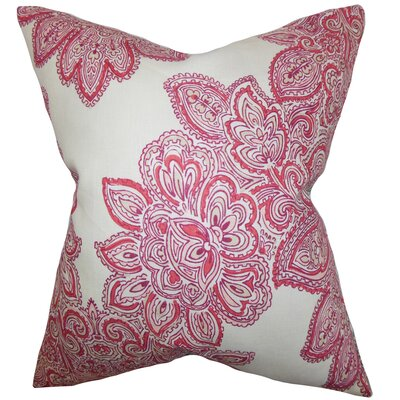 Haldis Floral Linen Throw Pillow Color: Rose, Size: 18 x 18