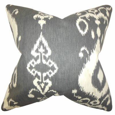 Katti Ikat Cotton Throw Pillow Color: Black, Size: 22 x 22