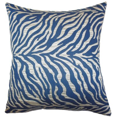 Helaine Zebra Print Throw Pillow Color: Blue, Size: 24 H x 24 W