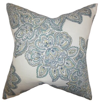 Haldis Floral Linen Throw Pillow Color: Sea Green, Size: 24 x 24
