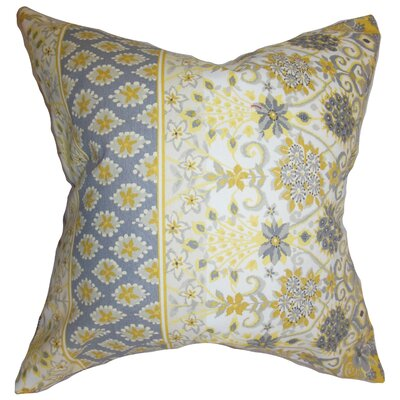 Kairi Floral Cotton Throw Pillow Color: Yellow, Size: 18 x 18