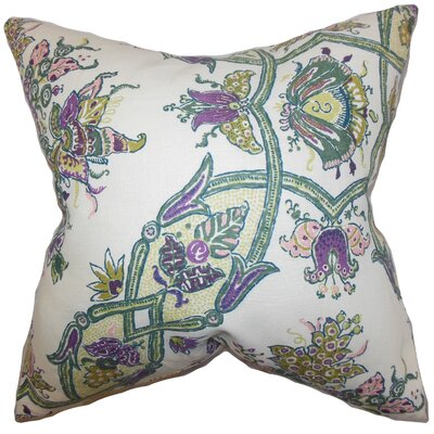 Laelia Floral Linen Throw Pillow Color: Purple, Size: 18 x 18