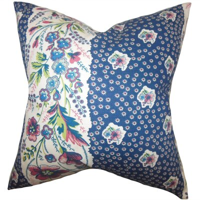 Elske Floral Throw Pillow Color: Sapphire, Size: 18 x 18