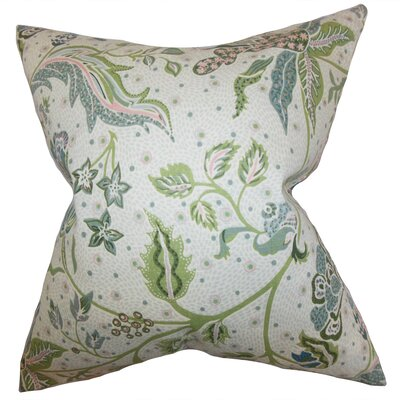 Fflur Floral Throw Pillow Cover Color: Aqua Green