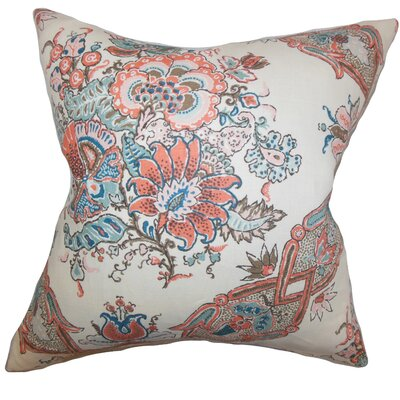 Laelia Floral Linen Throw Pillow Color: Coral, Size: 18 x 18