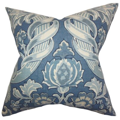 Kelila Floral Linen Throw Pillow Color: Denim, Size: 24 x 24