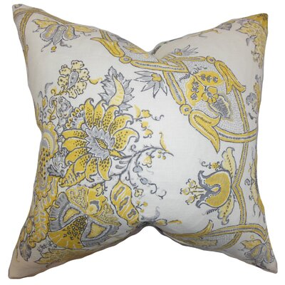 Laelia Floral Linen Throw Pillow Color: Yellow, Size: 18 x 18