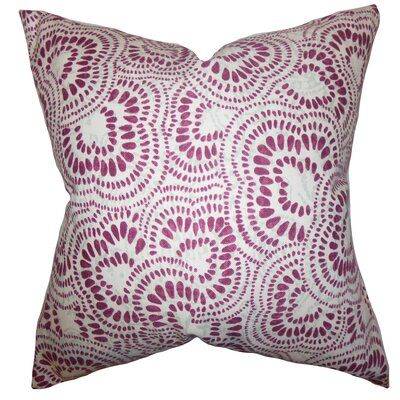 Glynis Floral Cotton Throw Pillow Color: Bourdeaux, Size: 22 x 22