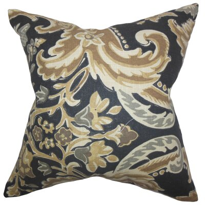 Kelila Floral Linen Throw Pillow Color: Mahogany, Size: 24 x 24