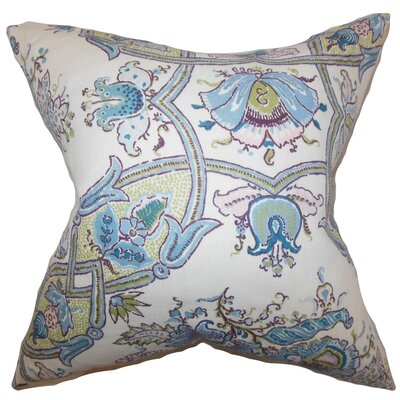 Laelia Floral Linen Throw Pillow Color: Lapis, Size: 18 x 18