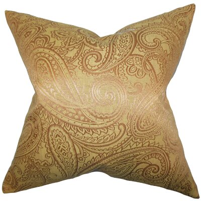 Cashel Paisley Throw Pillow Color: Yellow, Size: 24 x 24