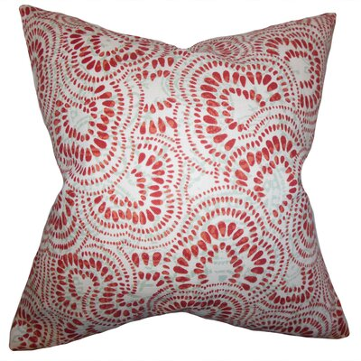 Glynis Floral Cotton Throw Pillow Color: Mint Red, Size: 18 x 18