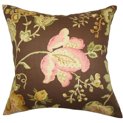 Kelila Floral Linen Throw Pillow Color: Brown, Size: 18 x 18