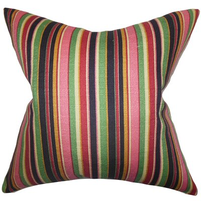 Pemberton Stripes Cotton Throw Pillow Color: Pink, Size: 18 x 18