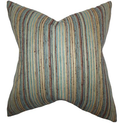 Bartram Stripes Throw Pillow Cover Color: Blue Brown