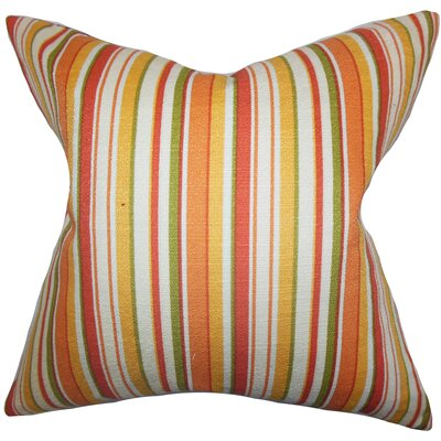 Pemberton Stripes Cotton Throw Pillow Color: Orange, Size: 18 x 18