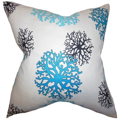 Coraline Coastal Cotton Throw Pillow Color: Aqua, Size: 18x18