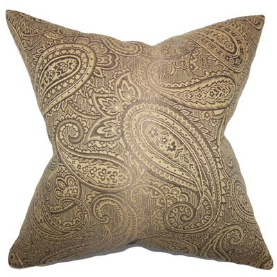 Cashel Paisley Throw Pillow Color: Brown, Size: 18 x 18