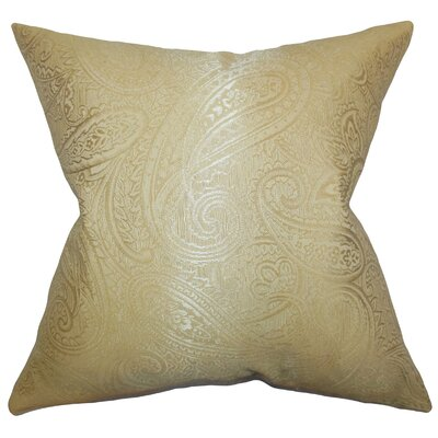 Cashel Paisley Throw Pillow Color: Gold, Size: 24 x 24